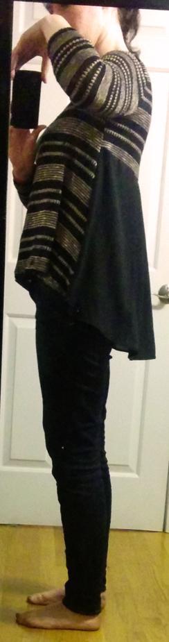 le lis brown striped sweater chiffon back