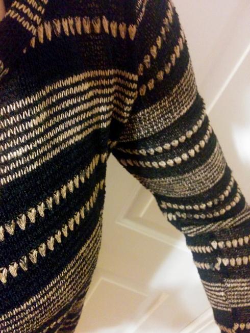 le lis brown striped sweater fabric closeup