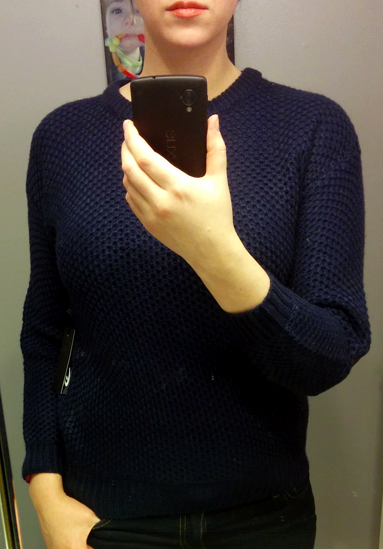 Mak B Navy crewneck Sweater with Elbow Patches