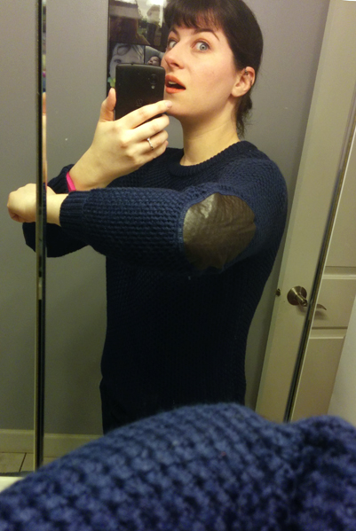Mak B Navy Sweater with Elbow Patches