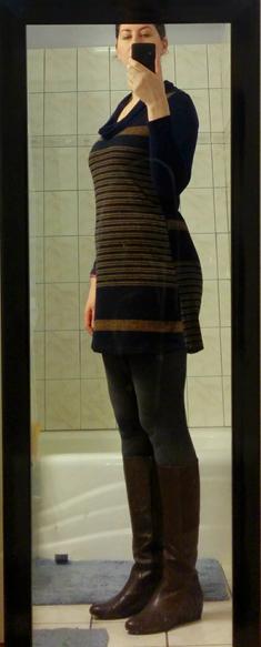 october 2014 golden tote le lis striped cowl neck dress