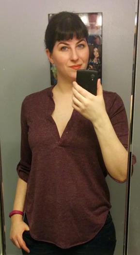 Renee C Maroon Tab Sleeve Top