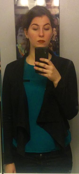 skies are blue jetsetter draped black jacket