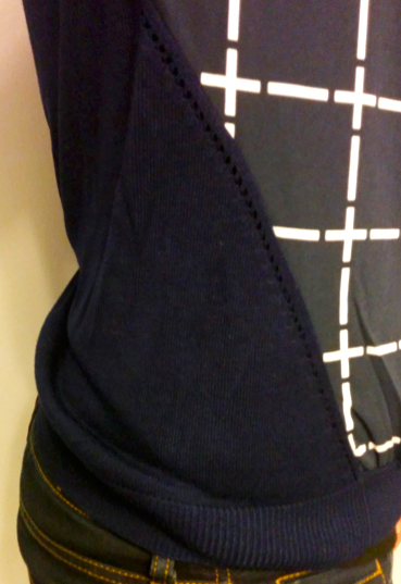 Skies Are Blue Navy and White Grid Sweater