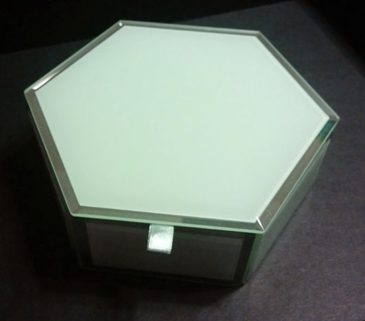 Swing Design Mia Glass Hexagon Storage Box in Ivory
