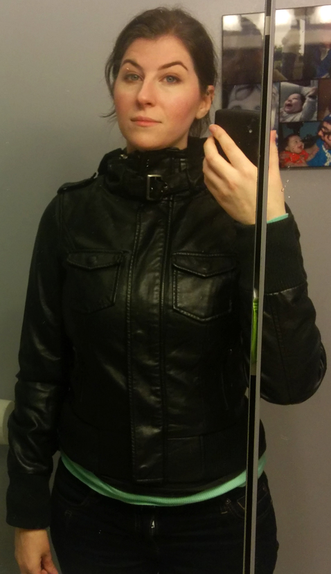 thread supply hooded moto jacket zipped up