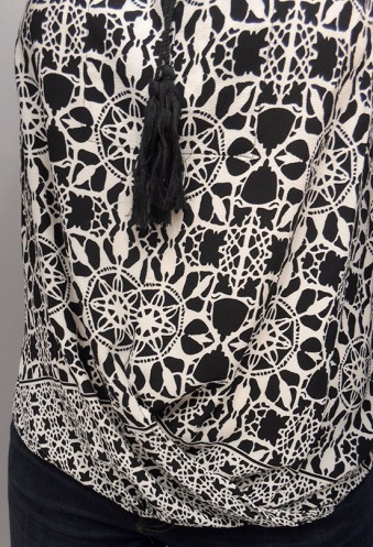 Love Stitch Tassel Tank Black And White Mandala Print