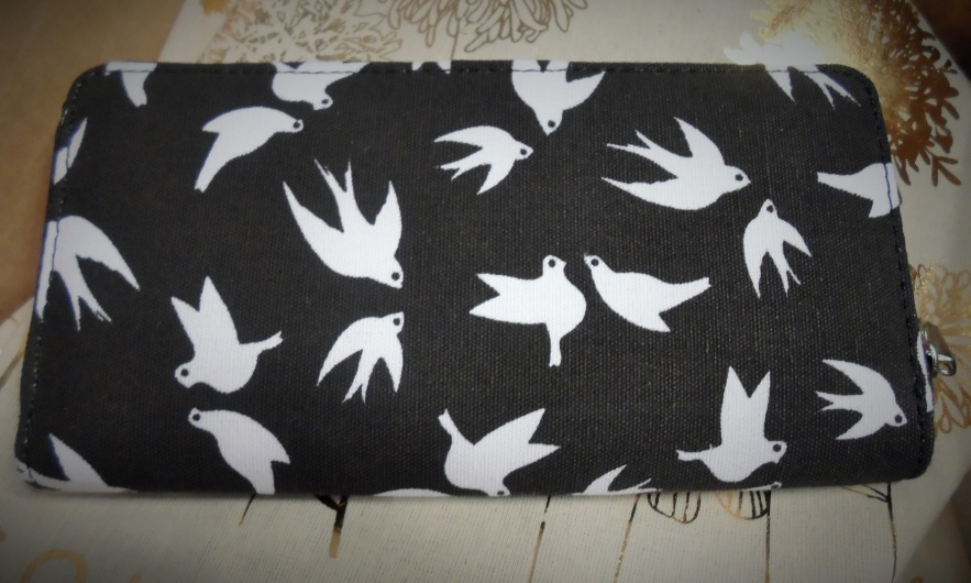 black and white bird print clutch wallet golden tote april 2015