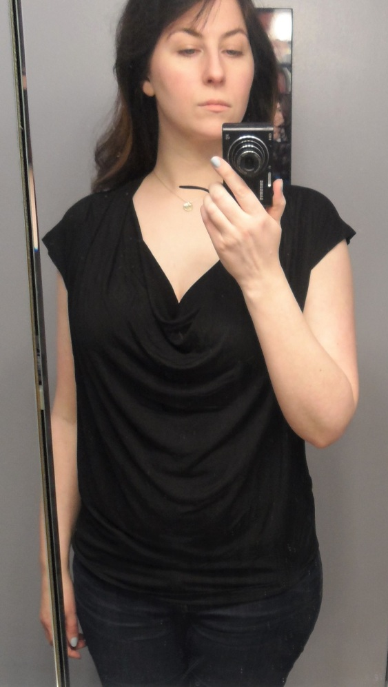 drape neck black jersey top golden tote